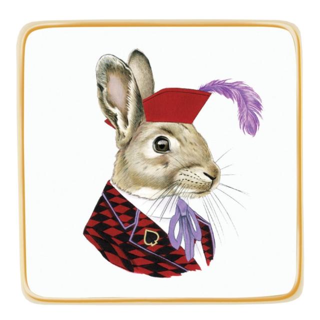 Berkley Bestiary Jack Rabbit Porcelain Square Tray