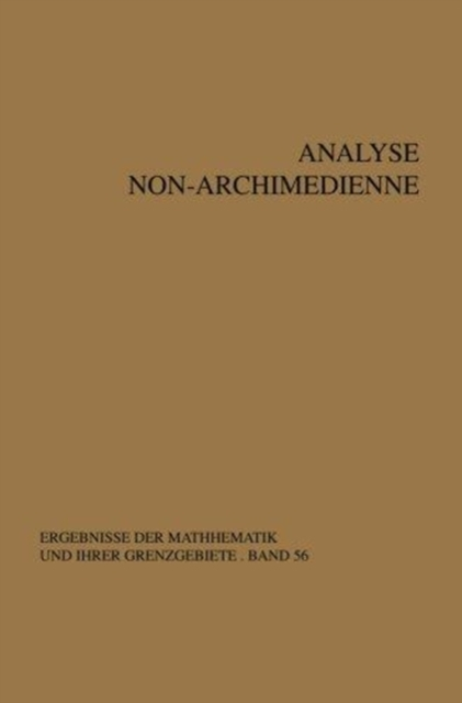 Analyse non-archimedienne